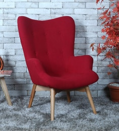 Contour Wing Chair In Red Colour