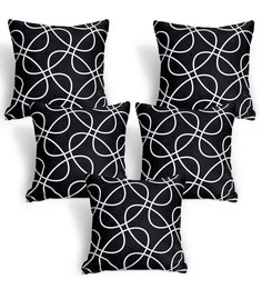 Cortina Black Polyester 16 X 16 Inch Abstract Cushion Covers - Set Of 5