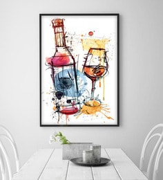 Cotton Canvas 36 X 1.5 X 60 Inch Wine Bottle With Glass Framed Digital Art Print