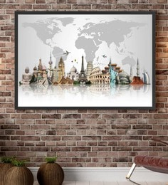 Cotton Canvas 60 X 1.5 X 48 Inch Travel The World Muments Framed Digital Art Print