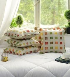 Cotton Check Design Multi Color Set Of 5 Cushion Cover - 1705040