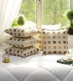 Cotton Check Design Multi Color Set Of 5 Cushion Cover