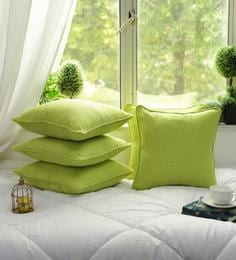 Cotton Self Dobby Design Lime Green Color Set Of 5 Cushion Cover