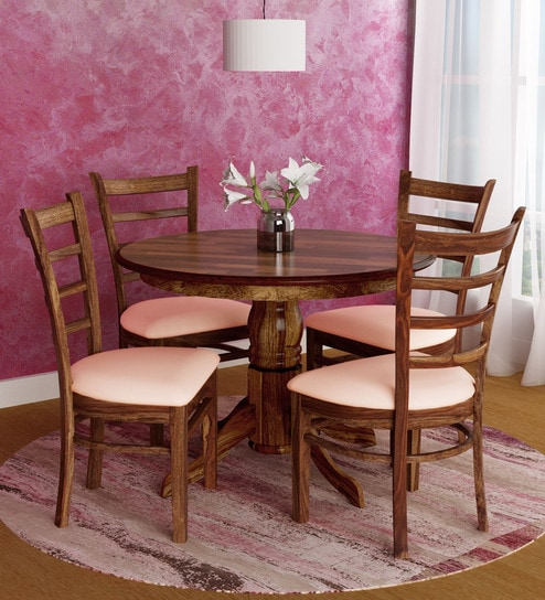 Buy Coco Round Four Seater Dining Set In Walnut Finish By Royaloak
