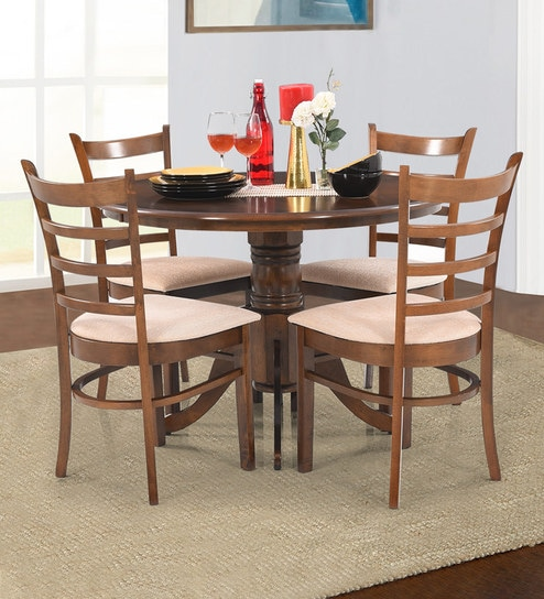 Coco Round Four Seater Dining Set In Walnut Finish By Royaloak