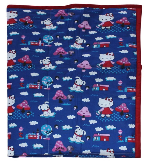 Cartoon Print Kids Quilt In Blue Colour