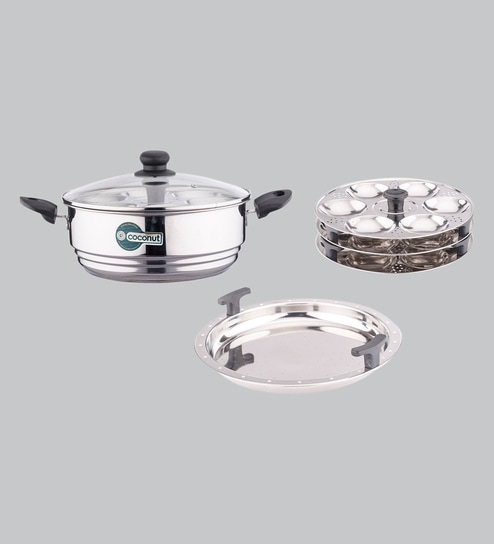 0834ef257a2 Buy Stainless Steel Pot with Steamer Plate   Idli Maker (3 Idli Plate   1  Steamer Plate) Online - Idli   Appam Makers - Cookers - Kitchenware -  Pepperfry ...