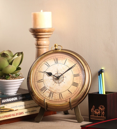 Gold Finish Iron Table Clock by Cocovey - Buy Cocovey Gold Iron 8 X 3 X 10 Inch Antique Table Clock Online