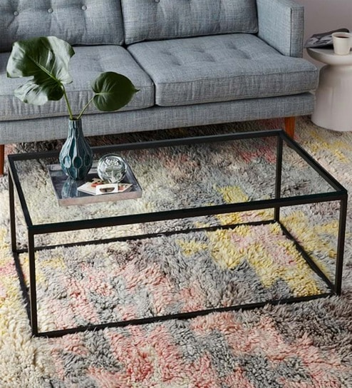 Buy Coffee Table With Black Metal Frame Clear Glass Top By Asian