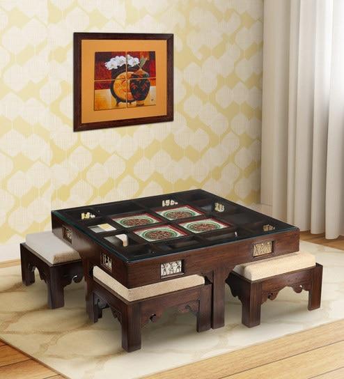 Buy Coffee Table In Walnut Finish By Aakriti Art Creations Online