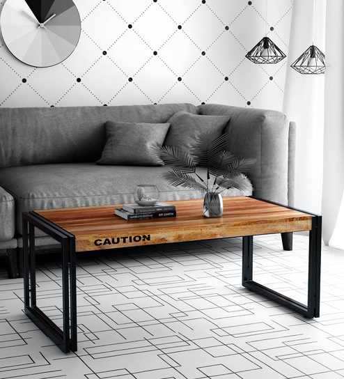 Buy Coleman Solid Wood Coffee Table With Metal Frame By Bohemiana Online Industrial Rectangular Coffee Tables Tables Furniture Pepperfry Product