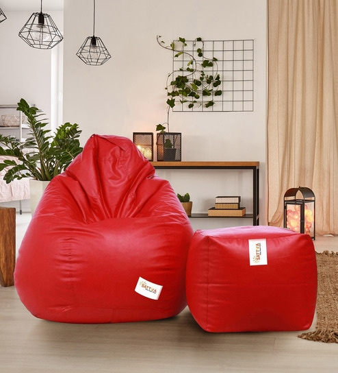 Amazing Combo Classic Xxxl Bean Bag With Beans Filled Foot Stool In Red Colour By Sattva Beatyapartments Chair Design Images Beatyapartmentscom