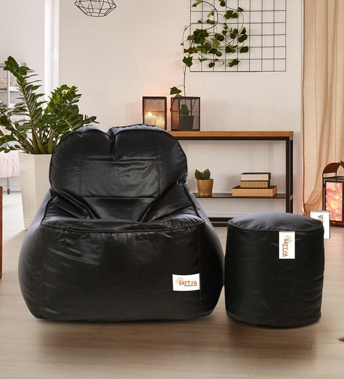 Super Combo Rester Xxxl Bean Bag With Beans Filled Foot Stool In Black Colour By Sattva Machost Co Dining Chair Design Ideas Machostcouk
