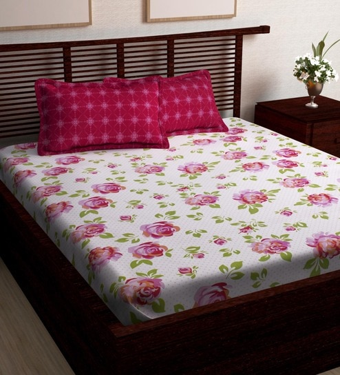 9e53415f1 Buy Comfortable 186 TC Cotton Queen Size (Bedsheet with 2 Pillow Covers) by  Story Home Online - Floral Queen Size Bed Sheets - Queen Size Bed Sheets ...