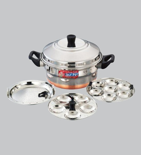 597e4d16d54 Buy Copper bottom Stainless Steel Idli Cooker 5 Plates (4 5 Idlis ) with Steamer  Plate Online - Idli   Appam Makers - Cookers - Kitchenware - Pepperfry ...