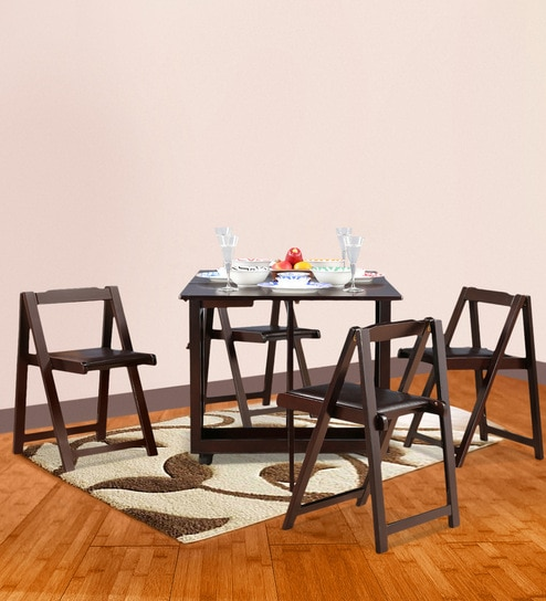 Compact Four Seater Foldable Dining Set In Wenge Finish By HomeTown