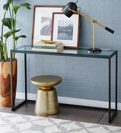 Beau Minimalist Study Cum Console Table With Glass Top By Asian Arts