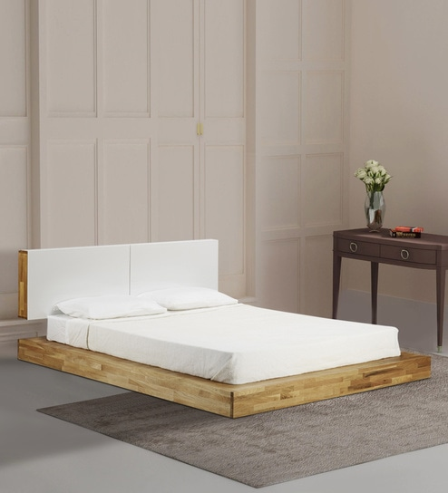 Archer Low Platform King Size Bed In Tan Finish By Afydecor