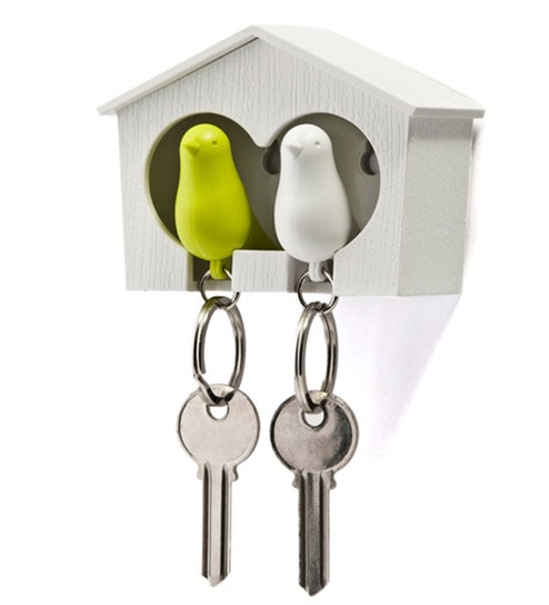 Cool Trends Green & White Duo Sparrow Key Holder