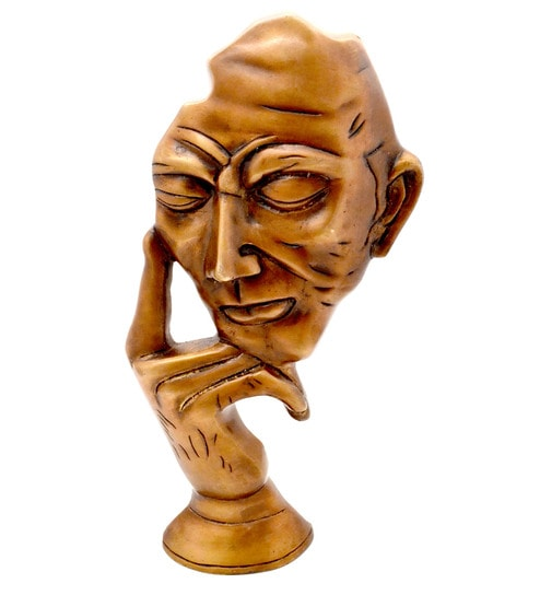 Brown The Thinking Man Brass Curio by Handecor