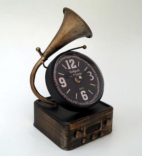 Copper Finish Metal U0026 Glass Table Clock By Tu Casa