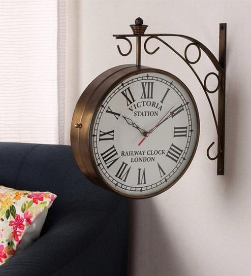 Copper Metal Og Railway Clock