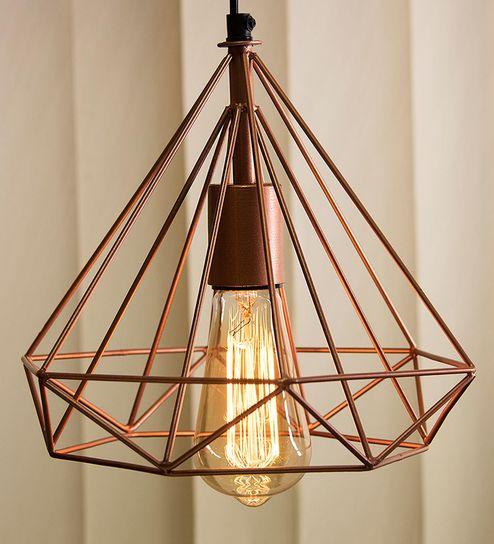 Copper Metal Hanging Light By Homesake