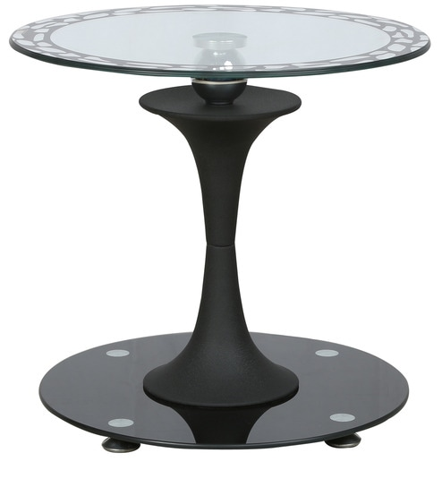 Corner Table With Black Printed Round Glass Top U0026 Base In Black Colour By  Parin