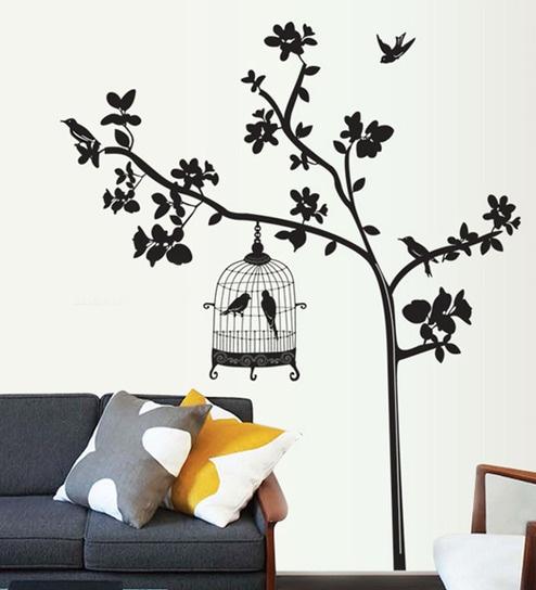 PVC Vinyl Tree U0026 Bird Cage Theme Wall Sticker By Cortina Part 54