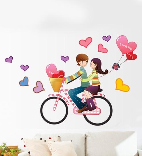 Buy Multicolor Pvc Vinyl Love Theme Wall Sticker By