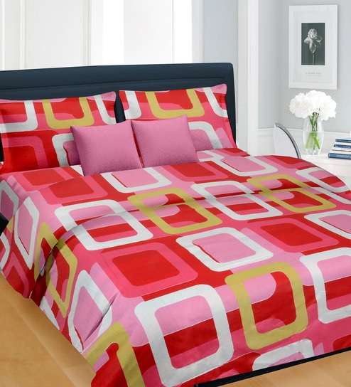 a4d3cc3b4b4a Cortina Red Satin Geometric Pattern Square 100 x 90 Inch Double Bed Sheet  (with Pillow