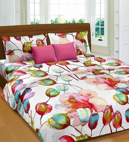 Marvelous Premium Pink Cotton Tulip U0026 Lilie Bed Sheet   Set Of 3 By Cortina