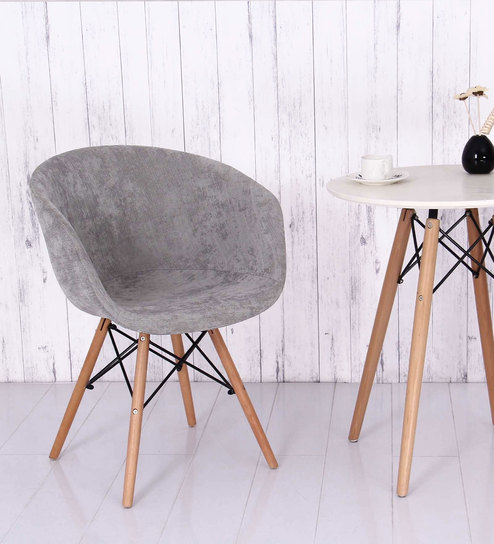 Cory Fabric Chair in Light Grey Colour by Bohemiana