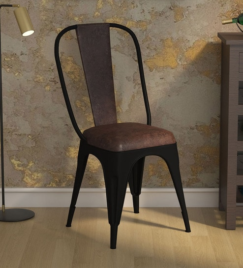 Cory Iconic Chair (Set of 2) with Brown Leather & Black Powder Coated Frame  by Bohemiana