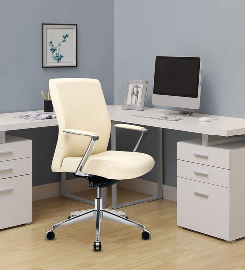 Cosmos Medium Back Chair In Cream Colour By Oblique