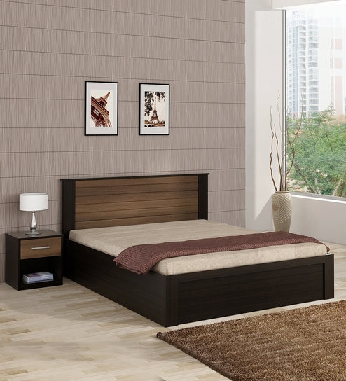 Cosmos Queen Bed With Hydraulic Storage Side Table In Wenge Finish By Ewood