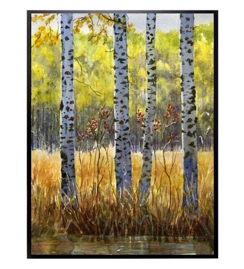 Deals On Autumn Aspens Framed Canvas Art Wall Art