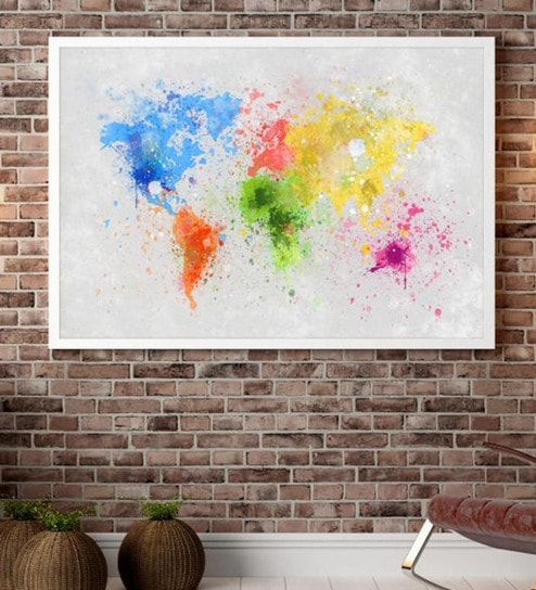 Buy cotton canvas 60 x 15 x 48 inch world map multicolour framed cotton canvas 60 x 15 x 48 inch world map multicolour framed digital art print by cotton canvas gumiabroncs Gallery