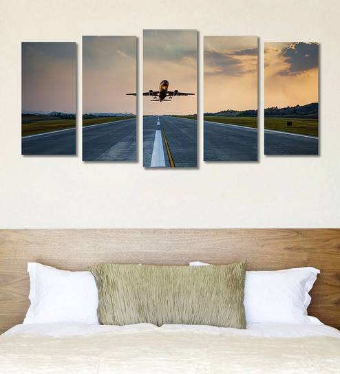 Buy Cotton Canvas 78.7 x 1 x 39.8 Inch Flying Airplane Framed Art ...