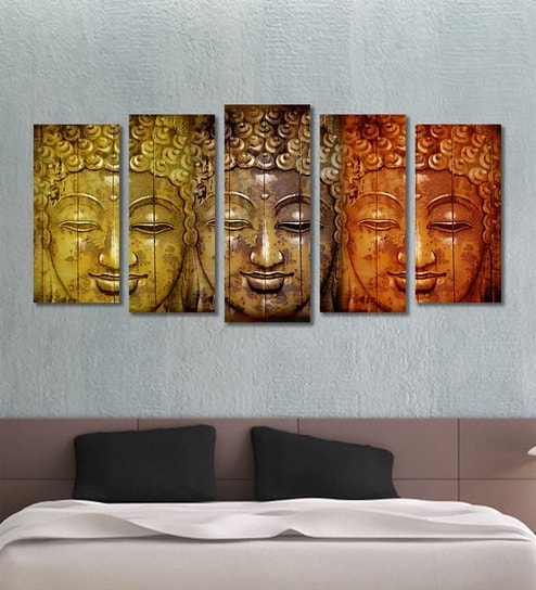 Buy Cotton Canvas 78.7 x 1 x 39.8 Inch Golden Buddha Framed Art ...