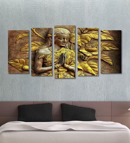 Buy Cotton Canvas 78.7 x 1 x 39.8 Inch Golden Women Abstract Framed ...