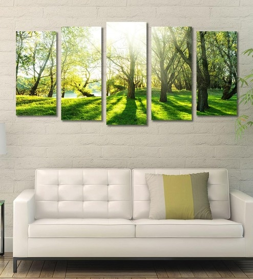 Cotton Canvas 78 7 x 1 x 39 8 Inch Greenery of Forest Framed Art Panels by  999Store - Set of 5