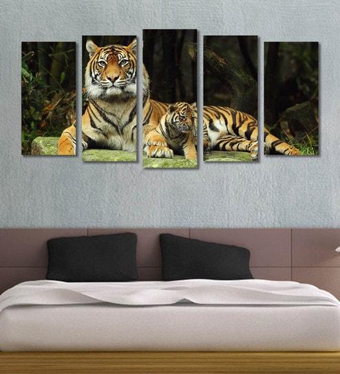 ANIMAL Tiger 11 Canvas 5 Framed Printed Wall Art ~ 5 Panels