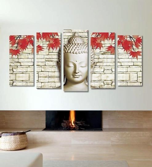 Buy Cotton Canvas 78.7 x 1 x 39.8 Inch White Buddha Framed Art ...