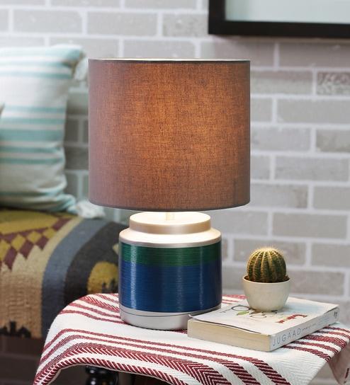 Courtyard Nagaban Small Blue Green Table Lamp With Grey Shade