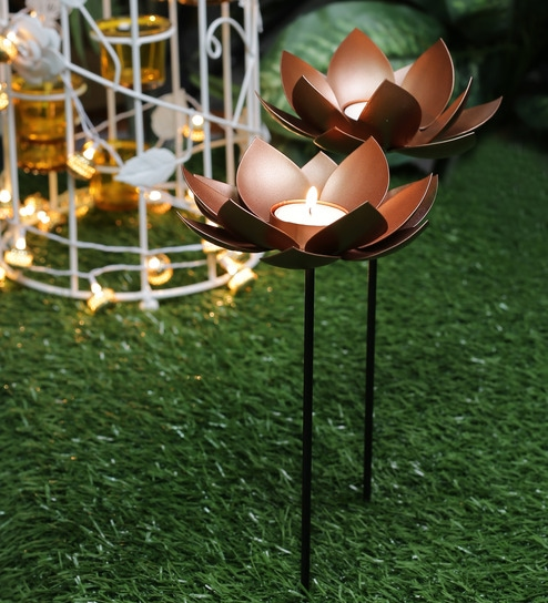 Copper Lotus Garden Stick   Set Of 2 By Courtyard