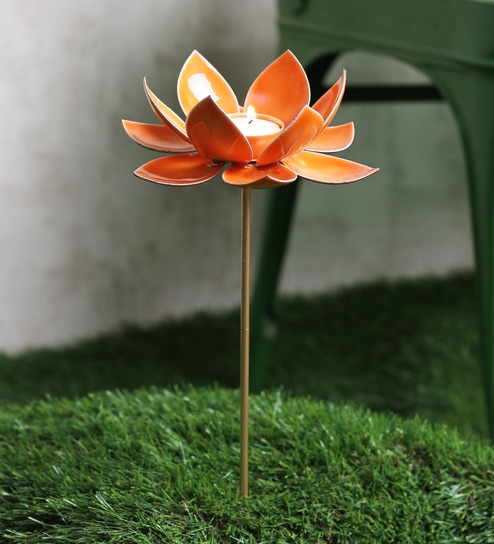 Courtyard Orange Iron Table Tealight Holder U0026 Garden Stick