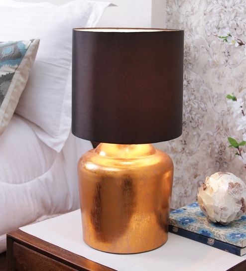 Buy courtyard moksha table lamp in copper foil base and black courtyard moksha table lamp in copper foil base and black shade mozeypictures Choice Image
