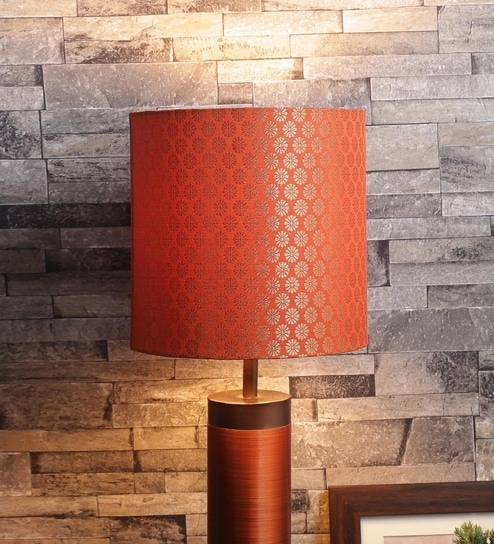 Buy orange fabric lamp shade by courtyard online indian ethnic orange fabric lamp shade by courtyard aloadofball Image collections