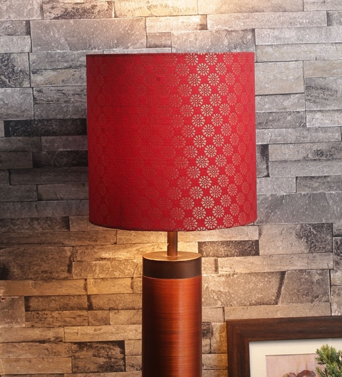 Buy red fabric lamp shade by courtyard online indian ethnic lamp red fabric lamp shade by courtyard mozeypictures Images